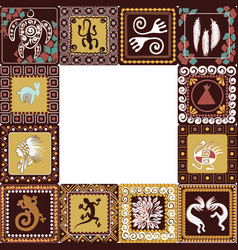 Frame with imitation of elements of rock art vector