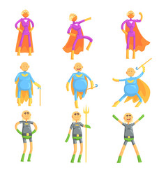 Funny elderly men in superman costume old vector
