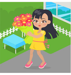 Girl holds bouquet of flowers in her hands at yard vector