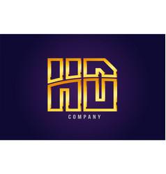 Gold golden alphabet letter hd h d logo vector