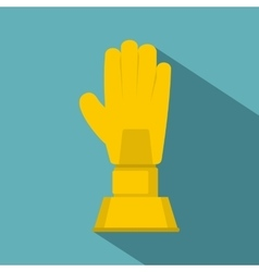 Golden baseball glove trophy icon flat style vector