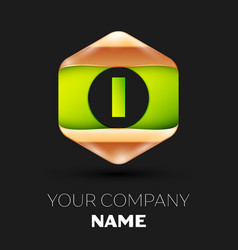 green letter i logo in golden-green hexagonal vector image