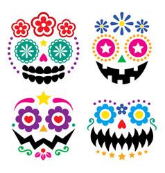 halloween and dia de los muertos skulls design vector image