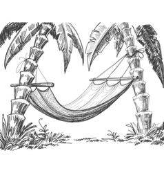 hammock and palm trees drawing vector image