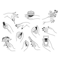 hand manicure and care female logos for nail vector image