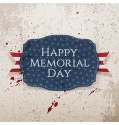 Happy Memorial Day textile Sign and Ribbon vector