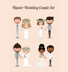 Hipster wedding couple set 01 vector