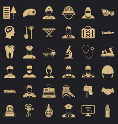 Job search icons set simple style vector