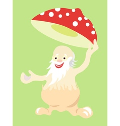 Jolly old man fly agaric mushroom takes off his vector