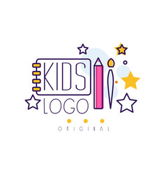 Kids logo original creative concept template vector