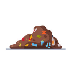 Landfill pile unsorted garbage flat style vector