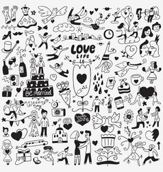 Love wedding day - doodles set vector