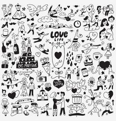 love wedding day - doodles set vector image