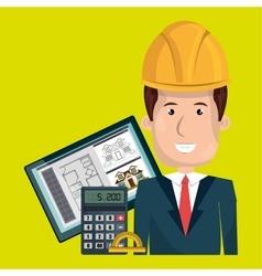 man architect protractor calculator vector image