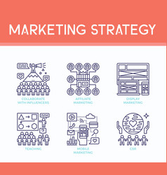 Marketing strategy icons vector
