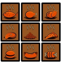 meal icons set vector image