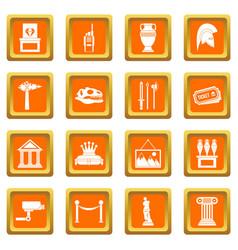 Museum icons set orange vector