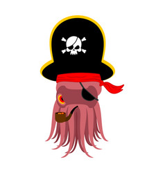 Octopus pirate poulpe buccaneer eye patch and vector