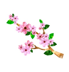 origami cherry blossom branch vector image