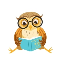 Owl Reading The Book Cute Cartoon Character Emoji vector image