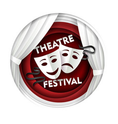 Paper cut theater festival poster template vector