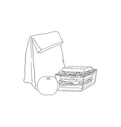 paper lunch bag and sandwich in plastic container vector image