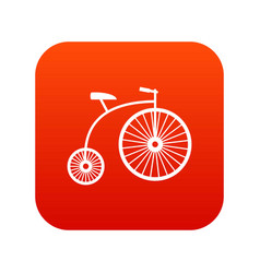 penny-farthing icon digital red vector image