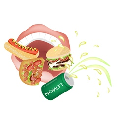 Person Eating Unhealthy Fast Food vector