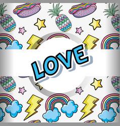 pop art background cartoons vector image