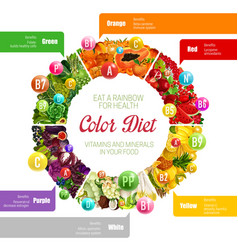 Rainbow color diet vitamins benefits in food vector