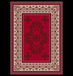 Rug with ethnic ornaments on red and pink vector
