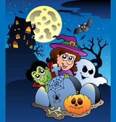 scene with halloween mansion 7 vector image