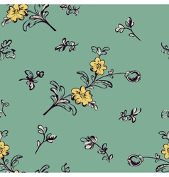 seamless pattern flower green vector image