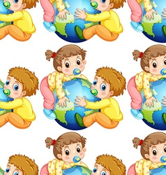Seamless todlers boy and girl holding earth vector image