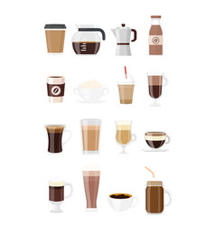 set coffee drinks vector image