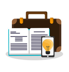 Smartphone and book icon vector