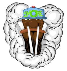 smoker in a cap vector image