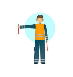 Special worker in reflective clothing showing vector