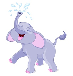 Sprinkling baby elephant vector