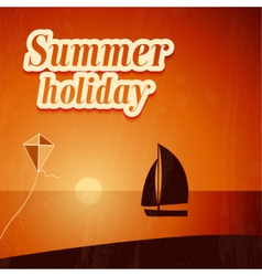 Summer background with yacht vector image