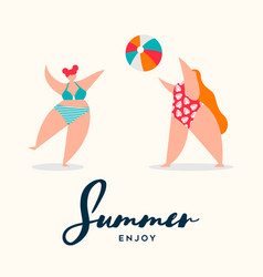 Summer card curvy women playing beach sports vector