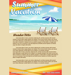 summer vacation with sand beach poster banner vector image