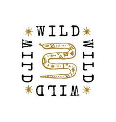 Text boho astrology snake sign oriental logo vector
