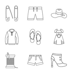 Trade fair of clothing icons set outline style vector