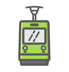 tram filled outline icon transport and railway vector image