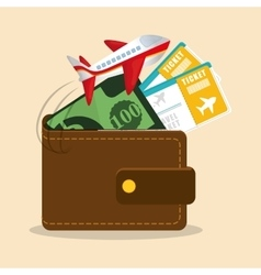 travel wallet ticket money airplane vector image