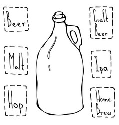 vintage beer bottle hand drawn vector image
