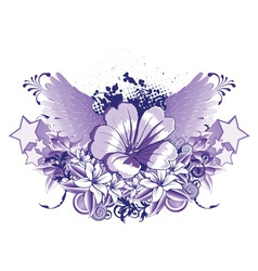 Vintage emblem with flower and wings vector
