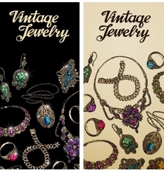 Vintage jewelry Precious metal gold silver and vector