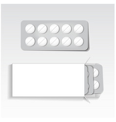 White package with tablets blisters pack vector